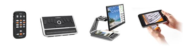image showing our popular products: Victor Reader Stream, BrailleNote Apex, Prodigi Desktop and Prodigi Tablet